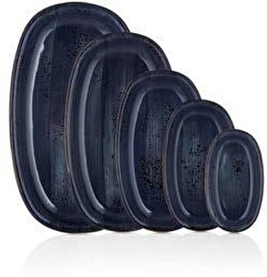 By Bone Porselen Balance 29 Cm Oval Siyah Tabak Renkli